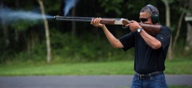 president barack obama skeet shooting gun rifle shotgun shoot shot shoots shooter holding firing smoke gas target practice camp david photoshop