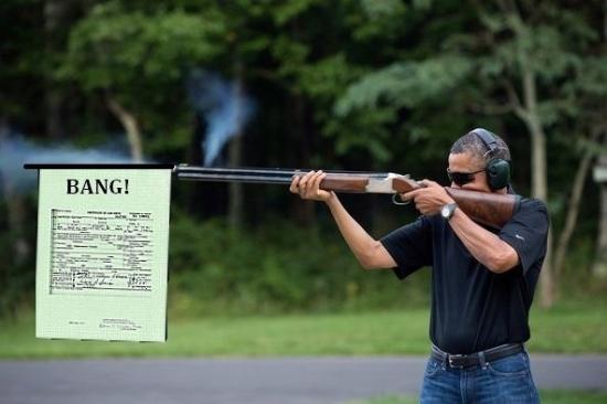 obama skeet shooting bang flag birth certificate