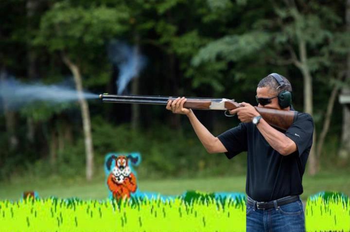obama skeet duck hunt dog laugh