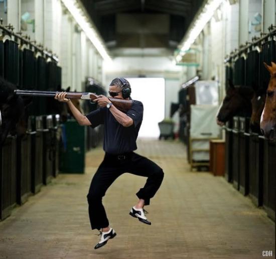 obama skeet shooting psy gangnam style