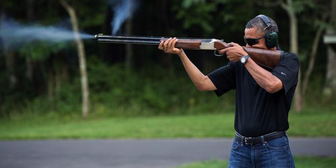 president barack obama skeet shooting gun rifle shotgun shoot shot shoots shooter holding firing smoke gas target practice camp david photoshop