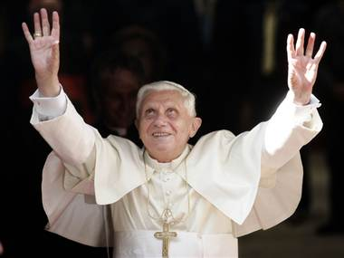 pope benedict looking up