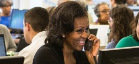 First Lady Michelle Obama FLOTUS on the Phone Telephone smiling Call Center Campaign Headquarters HQ Chicago