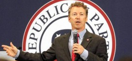 Senator Rand Paul pokes fun at the 140,000 new codes in Obamacare at the Lincoln Day Dinner Republican party GOP fundraiser in Cedar Rapids, Iowa, on May 10, 2013
