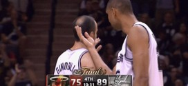 San Antonio Spurs power forward center Tim Duncan Cures Shooting Guard Manu Ginobili's Baldness bald spot hair Game 5 2013 NBA Finals Miama Heat