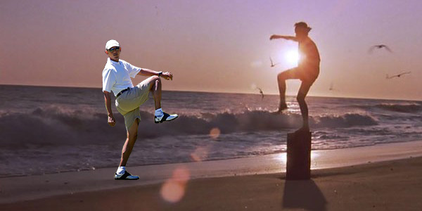 Obama Golf Photoshop Leg Lift Karate Kid Crane Kick Beach Daniel Daniel-san Ralph Macchio Martha's Vineyard