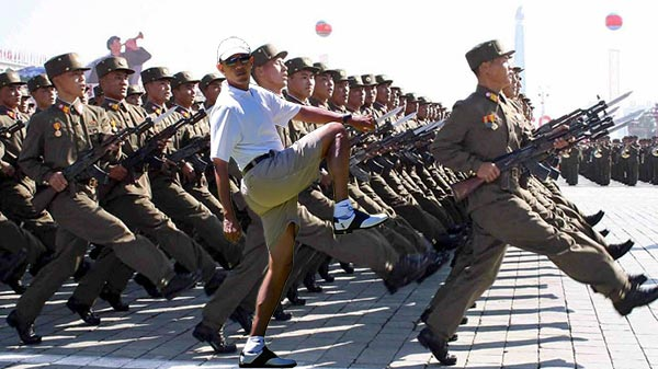 Obama Golf Photoshop President Marching with Chinese Army China Martha's Vineyard