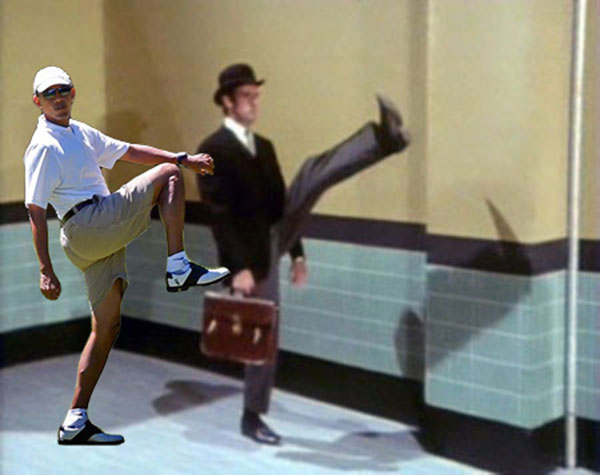 President Obama Golf Photoshop Leg Lift Ministry of Silly Walks Monty Python Martha's Vineyard