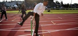#DemocratOlympicEvents Twitter hashtag tweet Obama hurdling jumping over hurdle hurdles track and field running racing University of Oregon Hayward Field