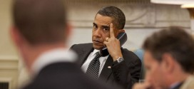 Obama on Phone with Middle Finger Extended