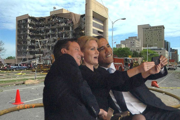 Obama self selfies President Barack Prime Minister David Cameron United Kingdom UK British Great Britain Helle Thorning-Schmidt Denmark Danish PM Nelson Mandela memorial service photoshop funeral Johannesburg South Africa African former Michelle First Lady wife self taking picture photograph pic themselves smiling snapping posing camera phone smartphone iphone narcissist narcissism death stadium world leaders media Oklahoma City Bombing Alfred P. Murrah federal building Timothy McVeigh Terry Nichols April 19, 1995 explosives bomb terrorist bombing attack Ryder van rental truck moving explosive C4 downtown blew up blow up damage destroy destroyed destruction FEMA