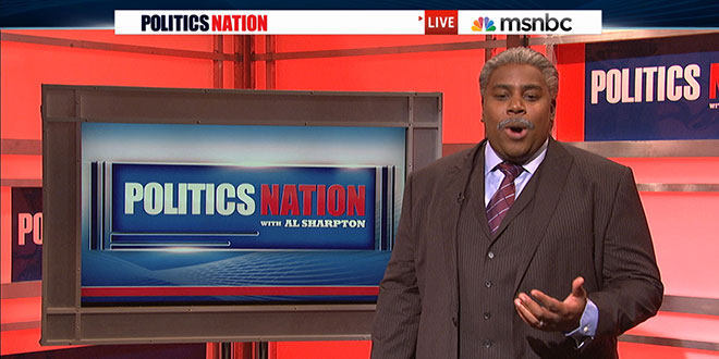 SNL Saturday Night Live sketch comedy show late parody parodies parodied spoof spoofs spoofed satire fake version made fun of poked Al Sharpton Sharpton's MSNBC Show 'Politics Nation' talk Paul Rudd unpaid contributor Huffington Post reporter correspondent Peter Douchet guest host