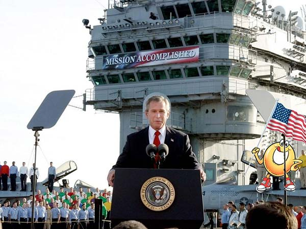 Spaghettios Pearl Harbor Tweet President George W. Bush Mission Accomplished navy naval aircraft carrier ship victory war speech deck December 7, 2013 Twitter tweet Campbell Soup Company Campbell's offensive tasteless dubious bad taste poor public outcry people upset furious enraged outrage apologizes apology pulls brand Internet