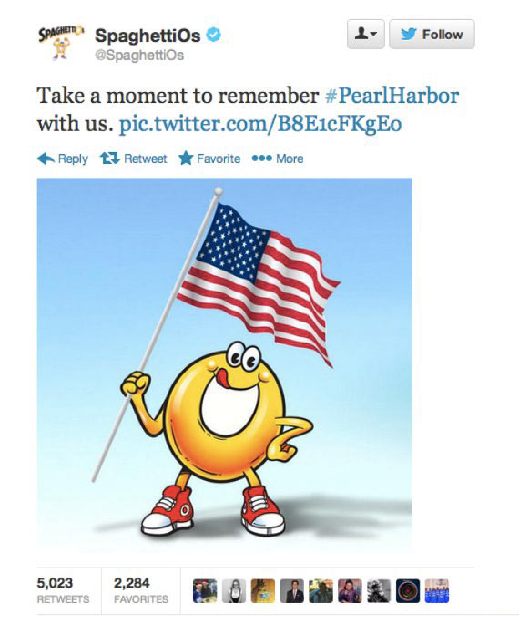 Spaghettios Pearl Harbor Tweet December 7, 2013 Twitter tweets tasteless pic Campbell Soup Company Campbell's offensive dubious bad taste poor public outcry people upset furious enraged outrage apologizes apology pulls brand Internet