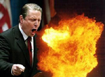Al Gore former Vice President breathing fire full of hot air breath flame flaming firey rhetoric