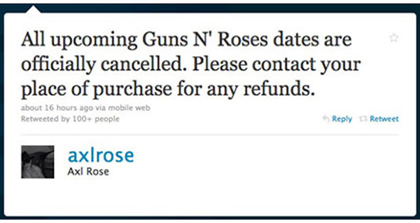 Axl Rose Guns N' Roses Twitter Hack Tour Dates Cancelled