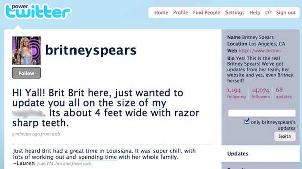 Britney Spears Twitter Hack Vagina 4 Feet Wide Razor Sharp Teeth