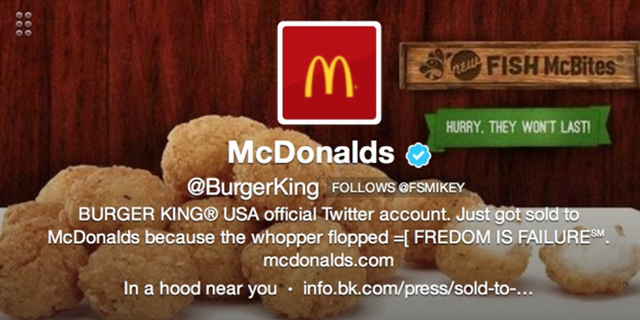 Burger King Twitter Hack Sold to McDonald's Whopper Flopped