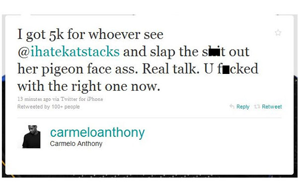 Carmelo Anthony Twitter Hack Pigeon Face Ass