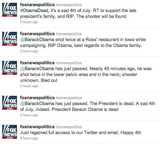 Fox News Politics Twitter Hack President Obama Dead