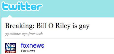 Fox News Twitter Hack Bill O'Reilly Gay