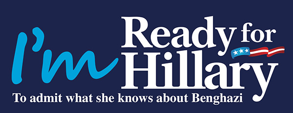 Hillary Clinton 2016 I'm Ready for Hillary to Admit What She Knows About Benghazi Bumper Sticker Presidential campaign #Hillary2016 run running for President office bid hat underway begins starts now official candidate kick-off General Wesley Wes Clark Hillary PAC readyforhillary.com hillaryclinton.com DNC Democrats Democrat free image pic picture graphic