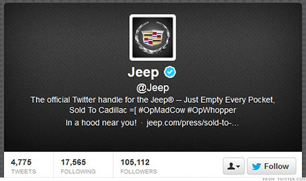 Jeep Twitter Hack Just Empty Every Pocket Sold to Cadillac