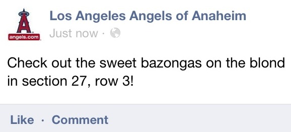 Los Angeles Angels of Anaheim Facebook Hack Check out the Sweet Bazongas on the Blond in section 27 row 3
