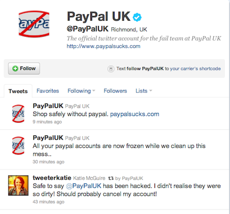 PayPal UK Twitter Hack PayPal Sucks Accounts Closed
