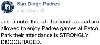 San Diego Padres Facebook Hack Handicapped Attendance Strongly Discouraged