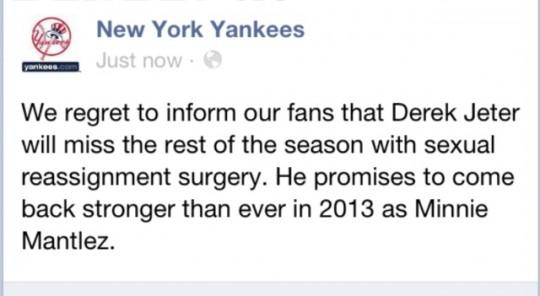 New York Yankees Facebook Hack Derek Jeter Sexual Reassignment Minnie Mantlez