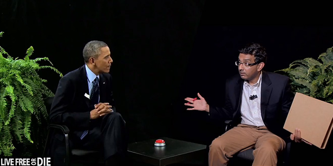 """Between Two Americas"" Dinesh D'Souza parody parodies spoof spoofs spoofing satire satirical mock mocks mockery mocking skit sketch comedy President Obama extremely very funny humor humorous humorously hilarious hilariously hysterical hysterically rip rips criticizes tear tears into edgy ""Between Two Ferns"" Zach Galifianakis ""Funny Or Die"" show web series comic comedic Will Ferrell witty wit sarcasm sarcastic 2016 Obama's America trailer preview spider bites thoughts and prayers leader of the free world Vladimir Putin brother George Obama IRS scandal Lois Lerner investigation targeting conservative groups pardon another turkey golf game sucks as bad as your presidency Healthcare.gov Obamacare crappy website America The Movie americathemovie.com young people love America stars and stripes tattooed tickets America documentary filmmaker"