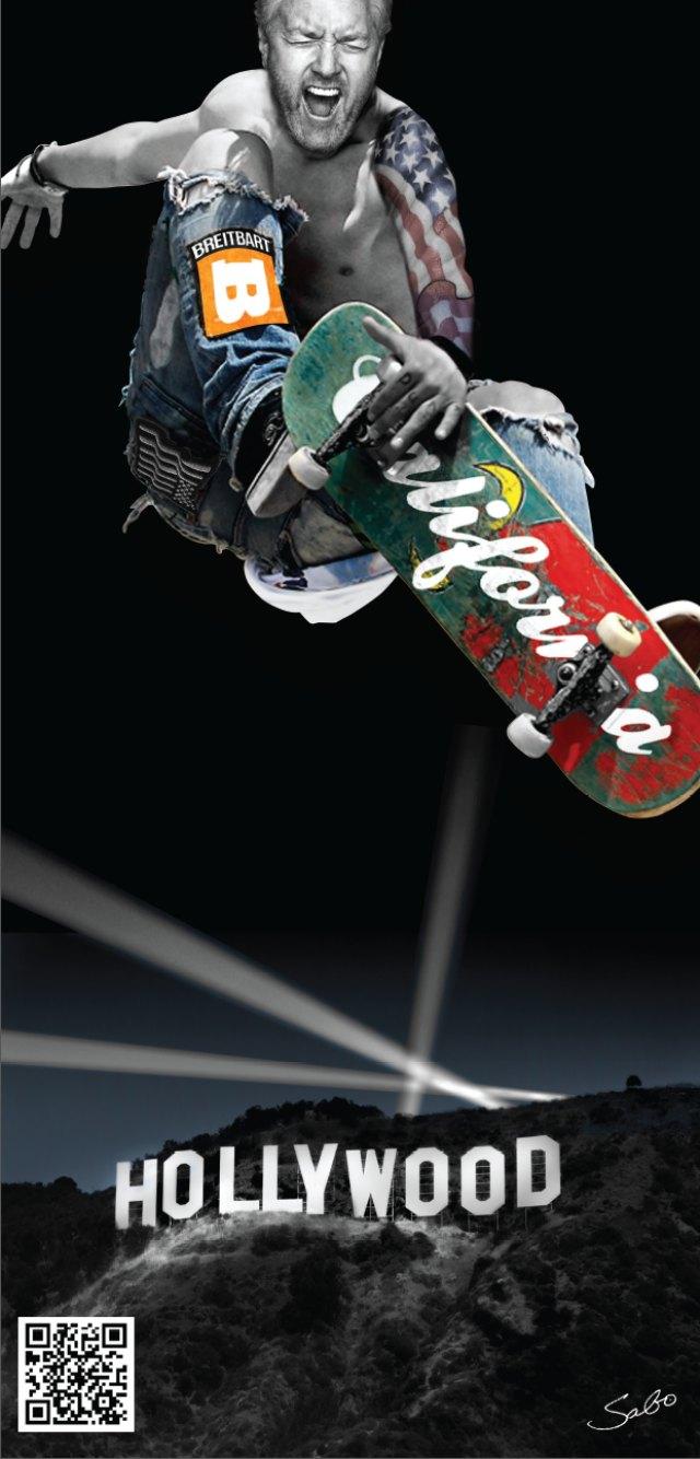 Breitbart California Poster Andrew Breitbart on a Skateboard