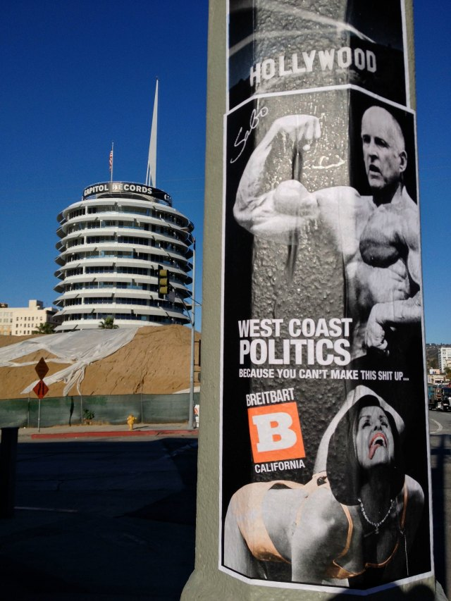 Breitbart California Poster Jerry Brown and Nancy Pelosi as Arnold Schwarzenegger and Miley Cyrus Lamppost