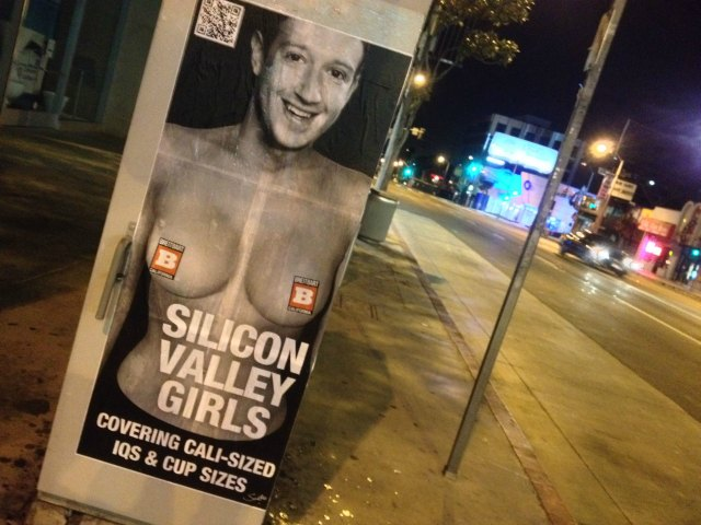 Breitbart California Poster Mark Zuckerberg Head on Topless Woman Signal Box