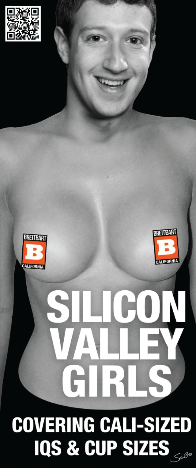 Breitbart California Poster Mark Zuckerberg Head on Topless Woman