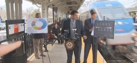 "Senator Richard Blumenthal nearly hit by train Democrat struck killed hurt injured at news press conference on safety commuter irony ironic holds almost gets hit presser unexpected oncoming Milford Metro-North station Milford Mayor Ben Blake MTA line derail derailment ""safety, as you know, is paramount"""