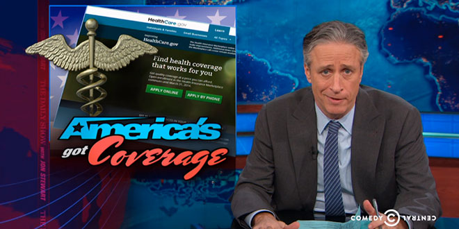 Jon Stewart The Daily Show mocks Obamacare is Not Buying the Obamacare Enrollment Numbers 7.1 million Americans have health insurance plans health care providers private public exchange exchanges marketplace sign-ups signed up Affordable Care Act ACA March 31st deadline fake false does not believe making fun of made phony falsified pay paid payment mandate America's Got Coverage Comedy Central bit piece segment story video clip funny hilarious humorous witty satirical skeptical skeptic
