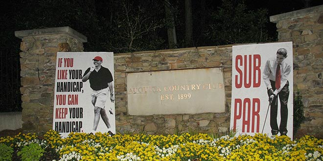 "Obama Sub Par Posters Subpar The Masters Tournament PGA golf in Augusta, GA Georgia tourney Augusta National Golf Club signs show up appear pop up Breitbart political street art subversive controversial satire satirical mock mocking mockery country club front main entrance electrical signal boxes benches intersections sign lawn lawns ""If you like your handicap, you can keep your handicap"" April 11, 2014 American Thinker Imgur"