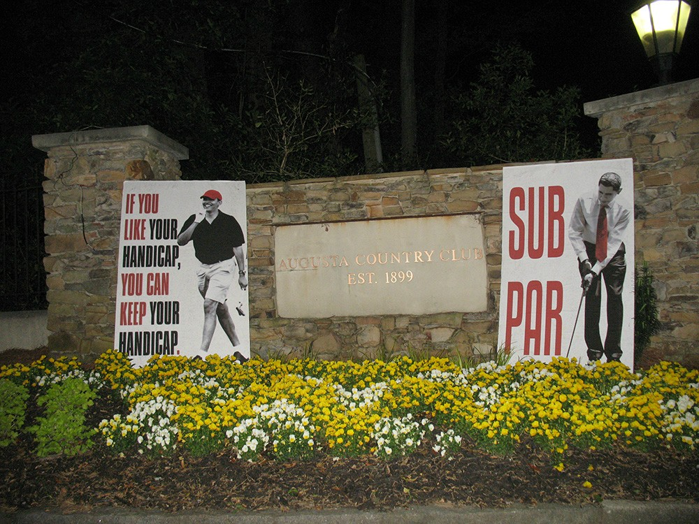 "Obama Sub Par Posters Subpar The Masters Tournament PGA golf Augusta, GA Georgia tourney signs Breitbart political street art subversive controversial satire satirical mock mocking mockery country club front main entrance electrical signal boxes benches intersections sign lawn lawns ""If you like your handicap, you can keep your handicap"" April 11, 2014 American Thinker Imgur"