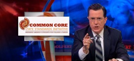 Stephen Colbert Common Core Confusion The Colbert Report uniform education standards state initiative standard across all 50 states nationwide curriculum hilariously mock mocking mocks mocked funny makes fun of poke fun satire satirical wry testing test tests scores grades failing school children students parents teachers Core-aligned math problems skills Comedy Central college career preparing