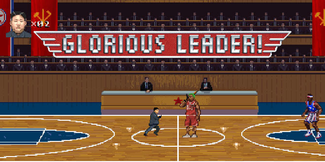 Kim Jong-Un Video Game 'Glorious Leader!' North Korea North Korean dictator retro Dennis Rodman 8-bit Moneyhorse Games lets you play as playing character gaming side-scrolling Contra action player cheesy fun starring star stars in takes on capitalists capitalist pigs United States of America USA US army armed forces troops military fight fights war shoot shoots shooting machine gun guns run runs running kill kills fire Statue of Liberty father pits enemy enemies funny comedic hilarious satirical satire fiery flaming unicorns basketball court The Democratic People's Republic of Korea boss level