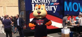 "giant orange squirrel mascot suit man trolls Hillary Clinton book tour bus stop RNC intern Hard Choices chases trails tails dogs hounds follows GOP bumper stickers T-shirt ""Another Clinton in the White House is nuts"" Twitter account funny humorous hilarious awesome tweets tweeting tweeted ""HRC Squirrel"" @HRCSquirrel acorn fuzzy guy costume Justin Republican National Committee weapon combat media"
