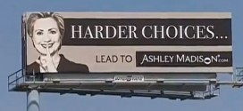 Harder Choices Lead to Ashley Madison billboard Hillary Clinton sign affairs married people secret secrets shush hush finger over her lips controversial dating website features featuring depicts depicting shows showing ultimate insult insulting ad advert signage traffic jams Chicago area FOX 32 News Harlem and Central image Hard Choices new book tour autobiography autobiographical memoir sales former First Lady New York Senator Secretary of State White House CEO Noel Biderman Sam Chapman sketch form 26 million members