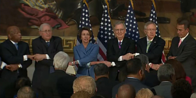 Parody Painful GOP and Dem Leaders Hold Hands and Sing Creep By Radiohead Congress Republicans Democrats Speaker Majority Minority Leader House of Representatives Senate Capitol John Boehner Sen. Harry Reid Mitch McConnell Carl Levin, Rep. Nancy Pelosi Marcia Fudge John Lewis