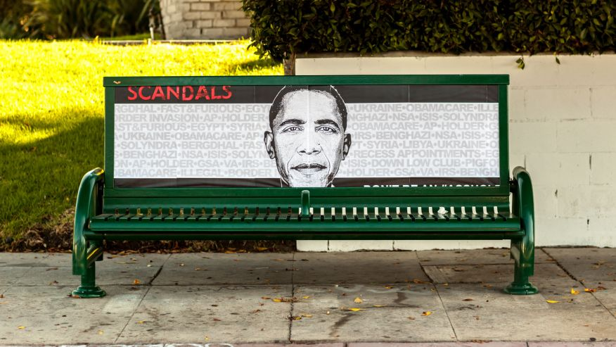 Obama Scandals Poster bus bench 3rd Street in Hancock Park