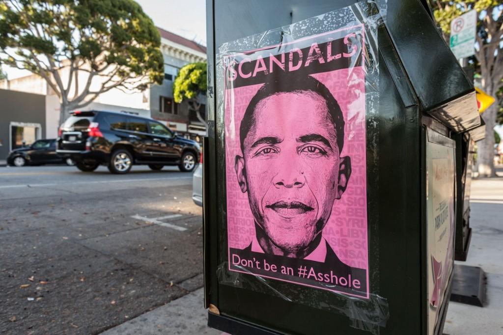 Obama Scandals Poster pink newsstand Larchmont Village