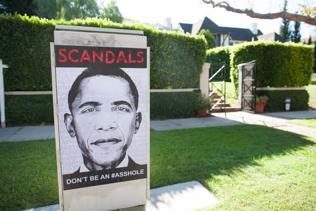 Obama Scandals Poster signal box Arden in Hancock Park