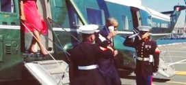 President Obama Latte Salute Marines Marine One Coffee Cup Hand New York City NYC UN United Nations First Lady Michelle Obama gives disrespect disrespectful gesture White House Instagram account page video