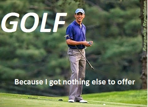 hilarious Obama golf pic meme memes pics picture pictures image images President funny political humor humorous satire satirical hysterical awesome lol lolz golfing golf course hole holes club golf clubs swing 200 rounds 200th round Obama Meme Golf Because I Got Nothing Else to Offer